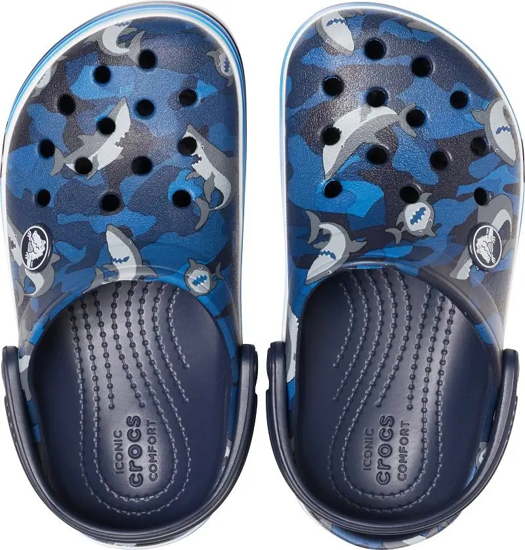 Picture of CROCS crocband shark clog 206152 410 navy