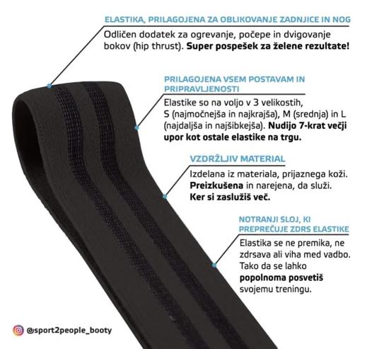 Picture of SPORT2PEOPLE elastika za vadbo 00203 009 BLACK