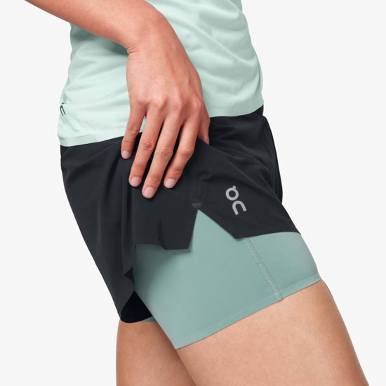 Picture of ON ž hlače 205.00027 RUNNING SHORTS black/sea